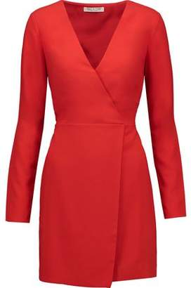 Halston Wrap-Effect Crepe Mini Dress