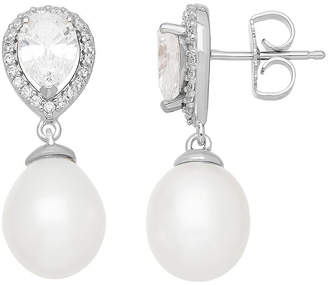 Swarovski SOFIA Certified Sofia Bridal Cultured Freshwater Pearl & Cubic Zirconia Earrings