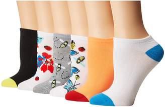 Betsey Johnson 6-Pack Embellished Butterfly Low Cuts Women's Low Cut Socks Shoes