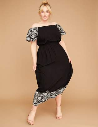 4cefa5e8b5d Lane Bryant Embroidered Off-the-Shoulder Maxi Dress