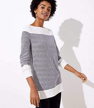 LOFT Petite Striped Speckled Boatneck Tunic Sweater