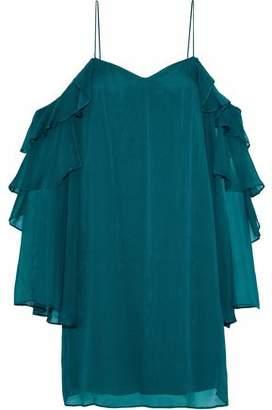 Haute Hippie Finale Cold-Shoulder Ruffled Silk-Chiffon Mini Dress