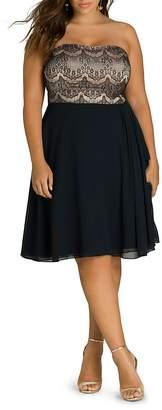 City Chic Plus Strapless Eyelash-Lace Overlay Dress