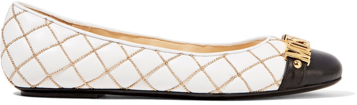 Moschino Moschino Embellished quilted leather ballet flats