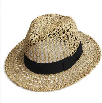 Justine Hats Wide Brim Straw Fedora Hat