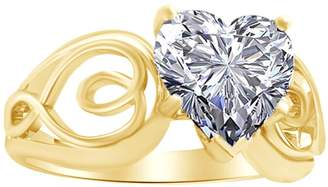 AFFY 0.70 Cttw Heart Shape White Natural Diamond Engagement Ring in 14k Gold Ring Size : 13