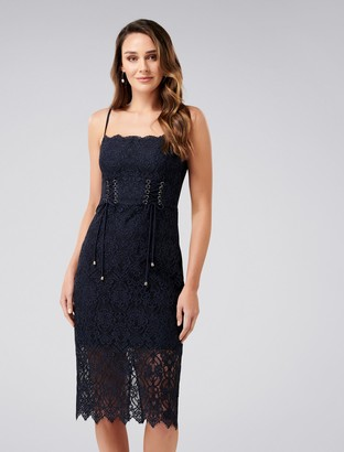 Forever New Emma Corset Front Lace Bodycon Dress - Navy - 4