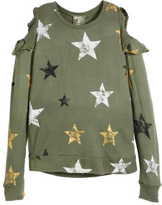 Flowers by Zoe Cold-Shoulder Star-Print Sweatshirt, Size S-XL