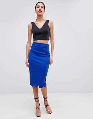 Asos DESIGN Scuba Pencil Skirt With Scallop Hem