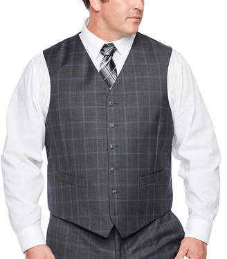 STAFFORD Stafford Checked Classic Fit Stretch Suit Vest - Big and Tall
