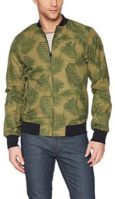 Scotch & Soda Men's Chic Bomber Jacket with All-Over Leaf Pattern