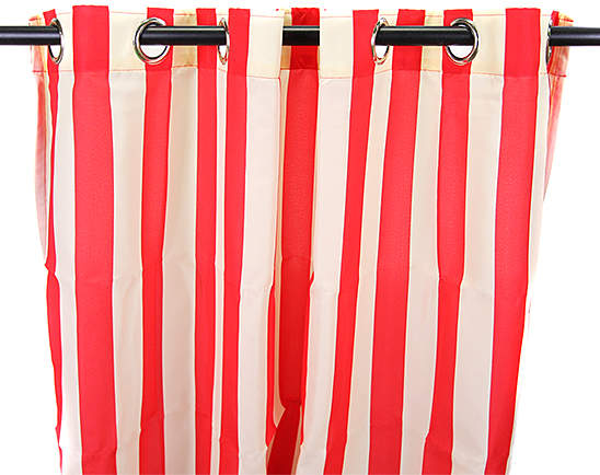 Cherry & White Stripe Indoor/Outdoor Curtain Panel