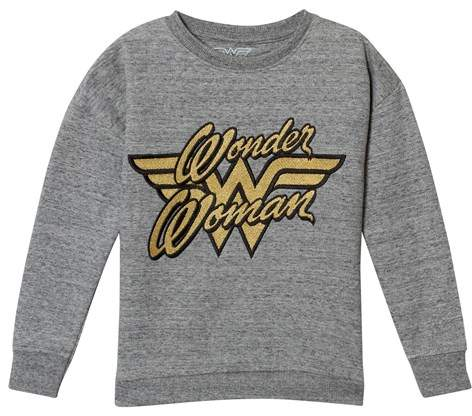 Grey Wonder Woman Gold Embroidered Sweater
