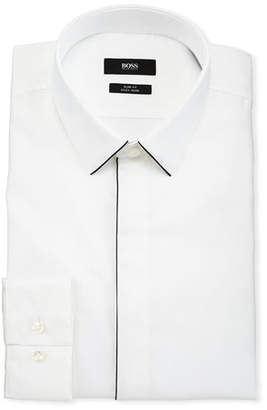 BOSS Men's Slim Fit Easy Iron Contrast-Piping Dress Shirt, White