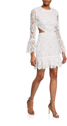 Rachel Zoe Isabel Floral Lace Long-Sleeve Cocktail Dress