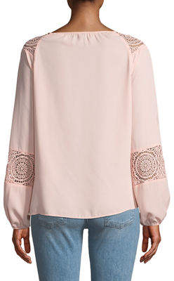 Neiman Marcus Long-Sleeve Lace-Trim Peasant Blouse