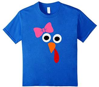 Thanksgiving Turkey Face with Pink Bow Funny T-shirt