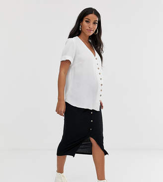 New Look Maternity button front rib midi skirt in black