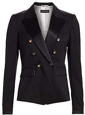 Escada Women's Double Breasted Wool Tuxedo Jacket
