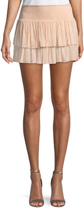 Ramy Brook Sibyl Smocked Two-Tier Mini Skirt