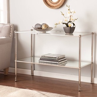 Southern Enterprises Parell Metal and Glass Console Table, Metallic Silver