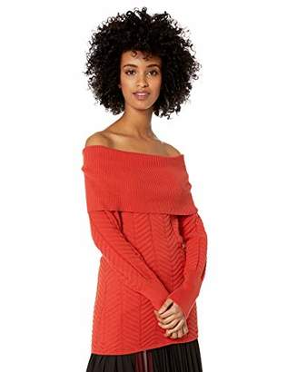 Chaus Women's Long Sleeve Off The Shoulder Chevron Stitch Sweater