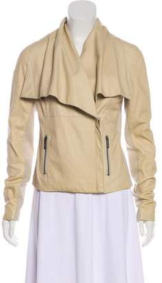 Vince Leather Asymmetrical Zip-Up Jacket