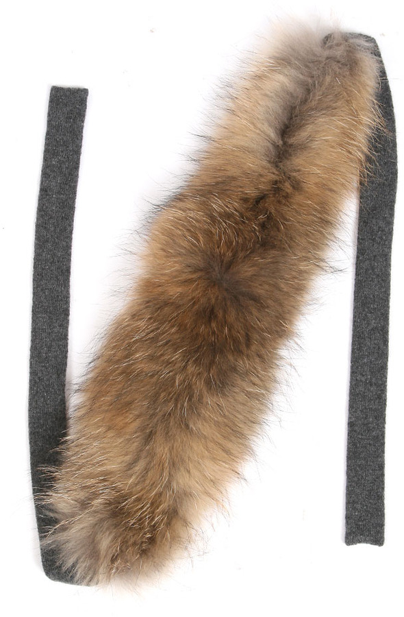 Minnie Rose Raccoon Fur Muffler in Dark Grey