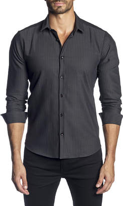 Jared Lang Men's Semi-Fitted Solid Stripe Long-Sleeve Button-Down Shirt