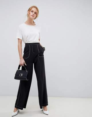 Asos Design DESIGN wide leg pants with contrast stitch
