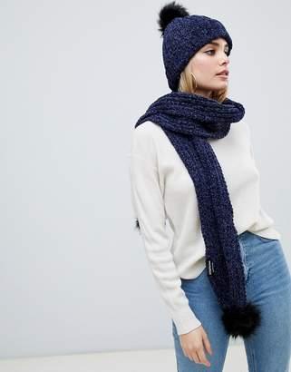 PrettyLittleThing chenille bobble scarf in navy