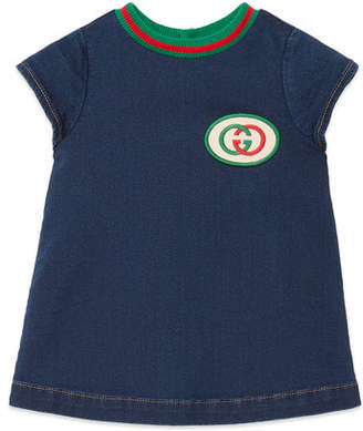 Gucci Short-Sleeve Denim Dress w/ Interlocking G Patch, Size 6-36 Months