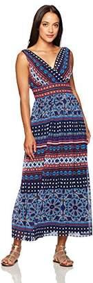 London Times Women's Sleeveless V Neck Chiffon Maxi Dress