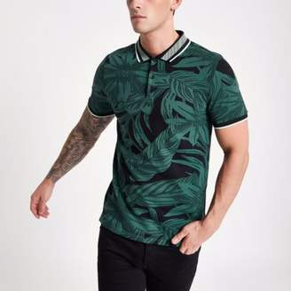 River Island Mens Green floral jacquard muscle fit polo shirt