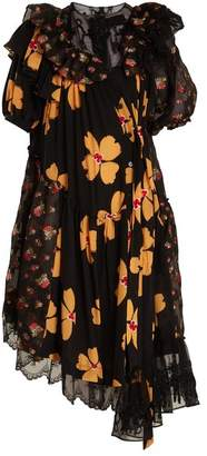 Simone Rocha Floral Print Asymmetric Gathered Dress - Womens - Black Multi