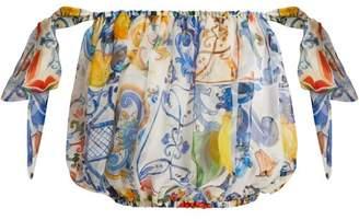 Dolce & Gabbana Majolica Print Silk Chiffon Off The Shoulder Top - Womens - White Print