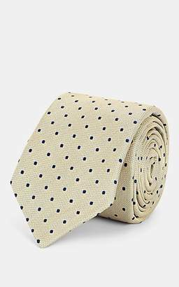 Barneys New York Men's Dot-Print Silk Jacquard Necktie - Yellow
