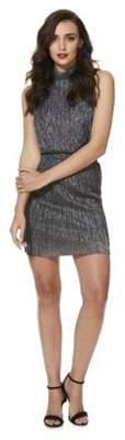 Noisy May Metallic Plisse Pleat Sleeveless Dress