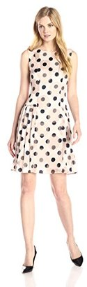 Donna Morgan Women's Sleeveless Burnout Polka Dot Dress with Pleated Skirt $67.99 thestylecure.com