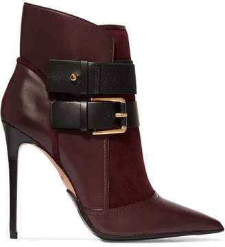 Balmain Anais Buckled Leather And Suede Ankle Boots - Plum