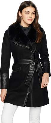 Via Spiga Women's Kate Wool Coat with Faux Fur Collar Outerwear