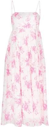 Les Rêveries strappy floral print pleated cotton midi dress