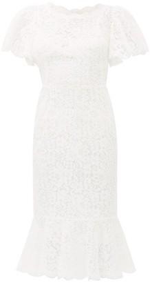Dolce & Gabbana Ruffled Lace Midi Dress - Womens - Ivory