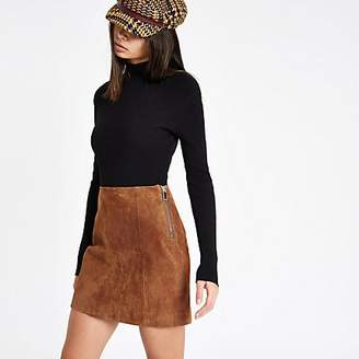 River Island Brown suede A line skirt