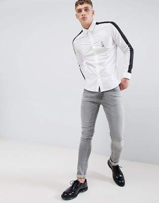 Class Roberto Cavalli long sleeve shirt in white with side stripe
