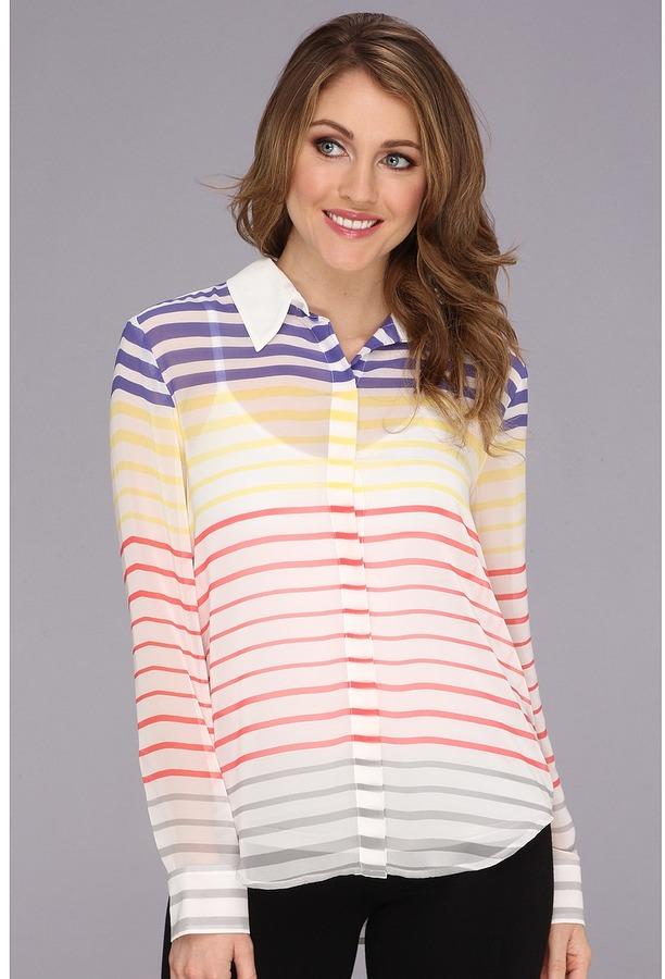 Vince Camuto L/S Button Front Step Stripe Blouse (Light Cream) Women's Blouse