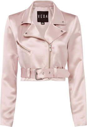 Veda Sax Satin Cropped Moto Jacket