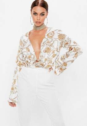 Missguided White Plunge Flared Sleeve Chain Print Bodysuit