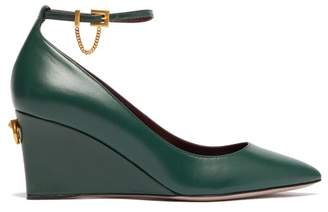 Valentino Ringstud Point Toe Leather Wedges - Womens - Dark Green