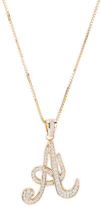 The M Jewelers NY The Iced Out Script Initial A Necklace